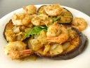 Baked and Fried Aubergine with King Prawns